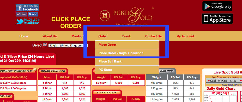 click place order